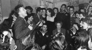 ... labor canteen, 1944. Note First Lady Eleanor Roosevelt in the crowd