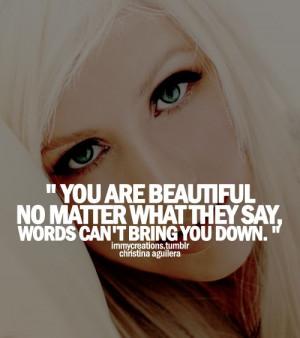 Christina aguilera, quotes, sayings, you are beautiful