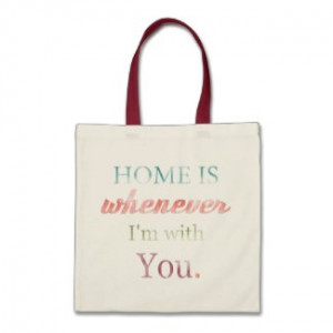 Love Quote Retro Tote Bag, Home Is Whenever I'm Wi bag