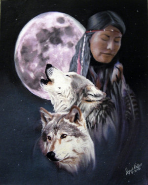 Pastel Native American and Wolf Fine Art
