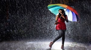 Girl in Rainy Night Wallpaper