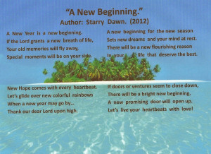 Photo Poem, A New Beginning. New Home Poems