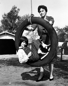 Harper Lee and Mary Badham on the set of To Kill a Mockingbird.