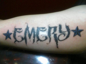 Tattoo of Joe's daughter's name on his upper inner right arm by Pete