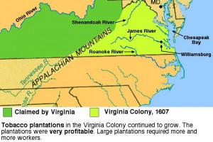 Virginia Colony Map 1607