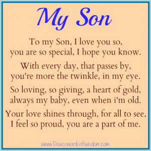 To My Son, I love you so, you are so special, I hope you know.
