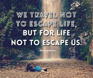 Quote we travel not to escape life, but for life not to escape us