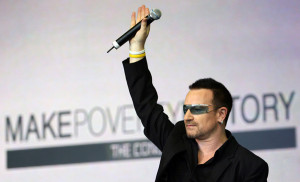 Bono from U2 campaigning to Make Poverty History