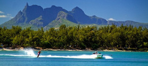 Water ski of Club Med at La Pointe aux Canonniers at north east coast ...