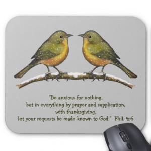 BIBLE VERSE, ANXIETY. Birds, Snowy Branch: ARTWORK Mouse Pad
