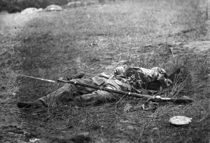 Confederate Soldier lies Dead on the Field at Gettysburg