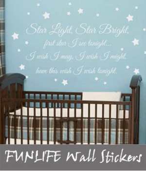 ... Bright Wish Vinyl Wall Decal - Baby Nursery Wall Quote Poem 56x92cm