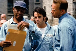 Still of Morgan Freeman and Gil Bellows in The Shawshank Redemption ...