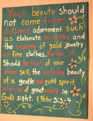 Peter 3:3-4 DIY canvas art quote