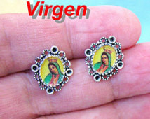 Our Lady of Guadalupe mini earrings stud mexican virgin virgen ...