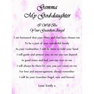 scroll a5 god daughter christening poem gift from godmother godparents
