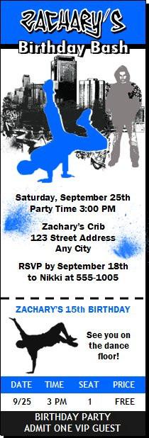12 Hip Hop Birthday Party Ticket Invitations & White Envelopes.
