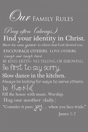 our family rules pray often always find your identity in christ show ...