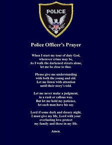 Police Officer Prayer Poem Wall or Room Print Policeman