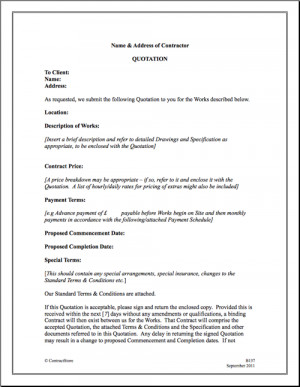 straightforward terms and conditions and a form of quotation for use ...