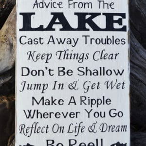 Advice From A Lake Sign, Lake House Decor Wall Art, Inspirational ...