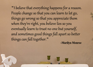 famous marilyn monroe quotes i believe everything happens for a reason