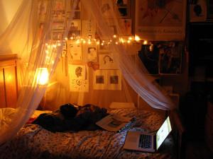 beautiful, bed, lights, room