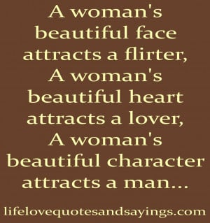 woman's beautiful face attracts a flirter,
