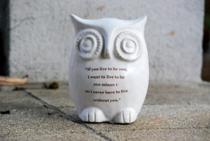 large Owl with Winnie the pooh quote on white - love