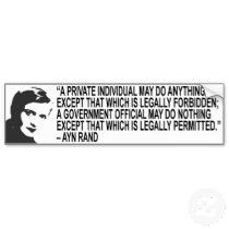 quotes by ayn rand | Ayn Rand Quote Bumper Sticker bumper stickers by ...