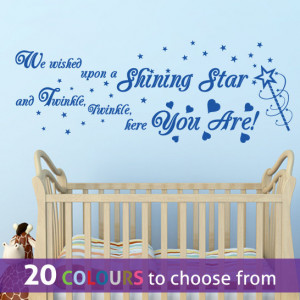 SHINING STAR quote TWINKLE twinkle little star wall sticker art decal ...