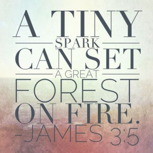 James 3:5 - (referring to the tongue) a tiny spark can set a great ...