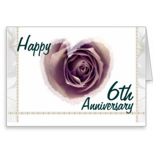 6th Wedding Anniversary - Purple Rose Heart Greeting Card