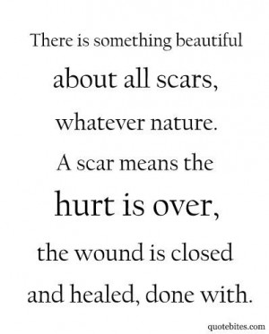 There is something beautiful about all scars, whatever nature. A scar ...