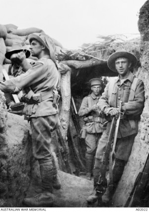 Australian troops in the Turkish Lone Pine trenches A02022