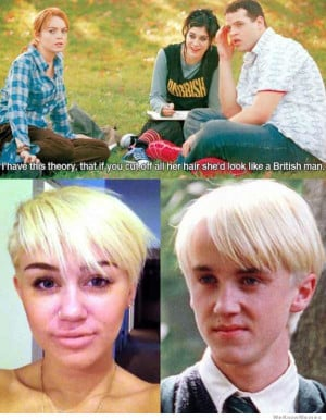 After cutting her hair Miley Cyrus now looks just like Draco Malfoy