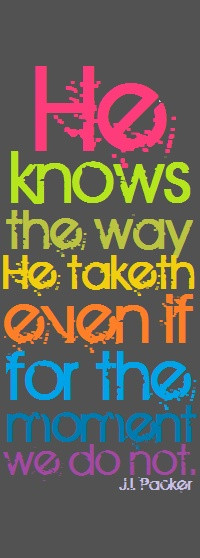 ... know the way He taketh even if at the moment we do not. -J.I. Packer