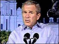 Mr Bush's first lengthy speech on Katrina only came on 15 September