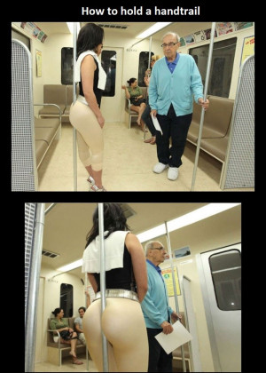 How to hold a handtrail. More crazy people you can meet in train(bus ...