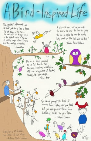 DoodleKids drawing of birds and inspiring quotes