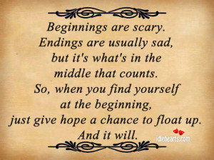 Home » Quotes » Beginnings Are Scary. Endings Are Usually Sad….