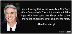 started writing this feature comedy in New York - a Chris Farley ...