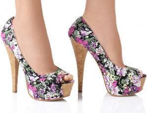 2014 verano zapatos de las mujeres con estampado de flores zapatos de