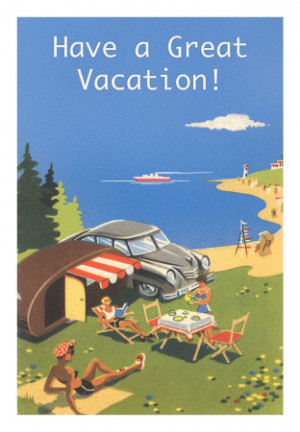 Family Camping by Ocean, Have a Great Vacation