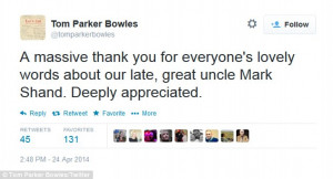 Mr Parker Bowles tweeted his family's thanks for the support they have ...