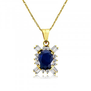 Blue sapphire with baguette diamond in 14k yellow gold