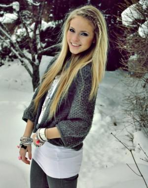 blonde hair, girl, pretty, snow