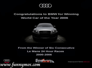 Subaru: Well done to Audi and BMW for winning the beauty contest. From ...
