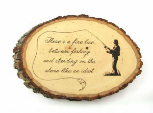 Fishing Wall Art Creative Wood Pyrography Funny by bkinspired, $45.00