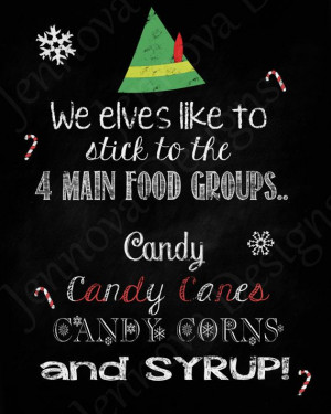 11x14 Elf Christmas Movie Quote Printable chalkboard by JennovaDesigns ...